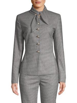 ESCADA Tie-Neck Button-Front Mini-Houndstooth Jacket in Black-White