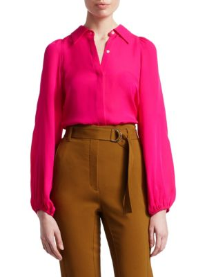 A.L.C Lori Collared Button Front Blouson-Sleeve Silk Top in Pink