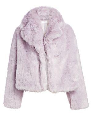 Grant Long-Sleeve Faux-Fur Jacket, Light Lavender