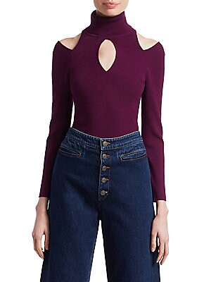 """Image of ONLY AT SAKS Rib-knit sweater with edgy cutouts Turtleneck collar Long sleeves Front keyhole Shoulder cutouts About 22"""" from shoulder to hem Viscose/polyester Dry clean Imported Model shown is 5'10 (177cm) wearing US size Small. Contemporary Sp - Workshop"""