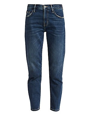 "Image of Classic five-pocket straight leg jeans in a modern crop with light distressing at pockets. Belt loops Zip fly with button closure Five-pocket styling Straight leg Light distressing and feathering Rise, about 11.5"" Inseam, about 25.5"" Leg opening, about 12"