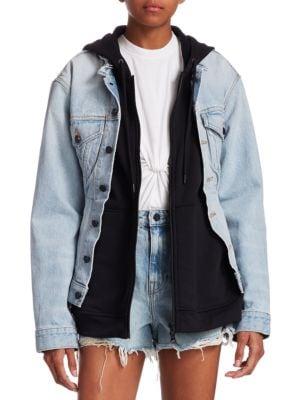 T BY ALEXANDER WANG Alexanderwang.T Joint Mix Jacket In Bleach in Blue