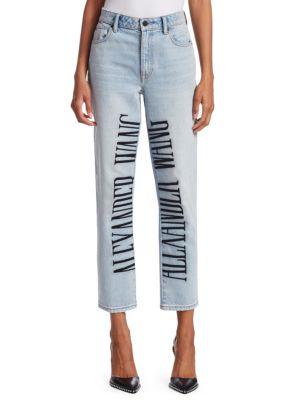 Cult High-Rise Straight-Leg Jeans W/ Embroidered Logo, Bleach