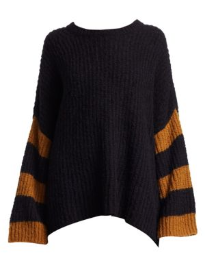 A.L.C Lorenzo Crewneck Striped Long-Sleeve Alpaca-Blend Sweater, Black Medallion