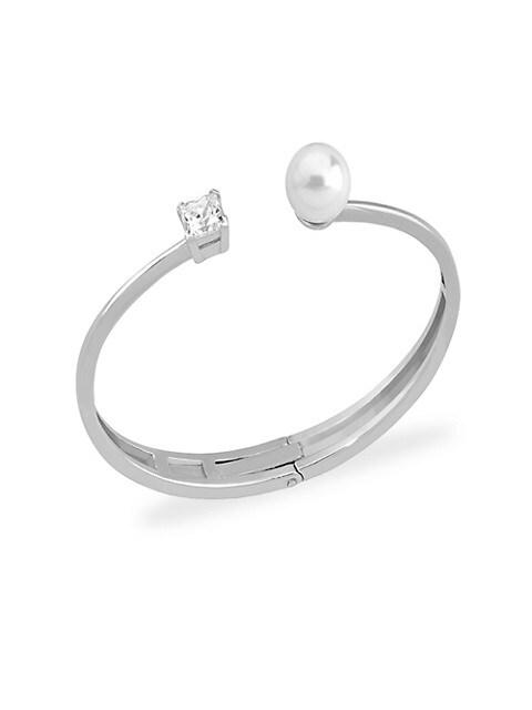 Faux Pearl l & Crystal Open Bangle Bracelet