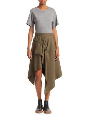 Asymmetric Cotton-Jersey And Wool-Gabardine Dress, Forest Green