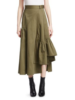 3.1  Utility Layered Maxi Skirt Olive/Army in Green