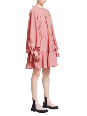 Oversized Tiered Crinkled Matte-Satin Mini Dress, Dusty Pink