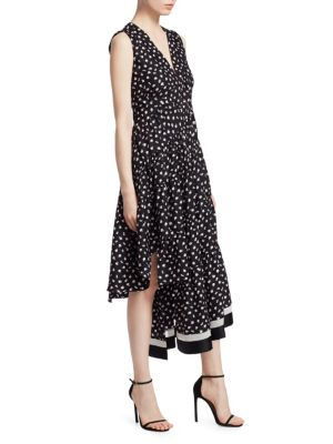 Floral Print Silk Midi Dress, Black