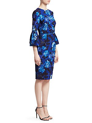 """Image of Dreamy florals enhance a streamlined silhouette Roundneck Three-quarter bell sleeves Concealed back zip closure Pleats at waist Lined About 45"""" from shoulder to hem Polyester/elastane Dry clean Imported. Dress Collectio - David Meister. David Meister. Col"""