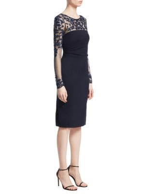 Tattoo Sheer Long-Sleeve Ruched Dress in Navy