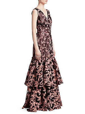 """Image of Glittery floral jacquard dress flows to a tiered, ruffle hem V-neck Sleeveless Concealed back zip closure Ribbon-trim waist V-back Tiered ruffle hem About 60"""" from shoulder to hem Polyester/metallic Dry clean Imported Model shown is 5'10"""" (177cm) wearing"""