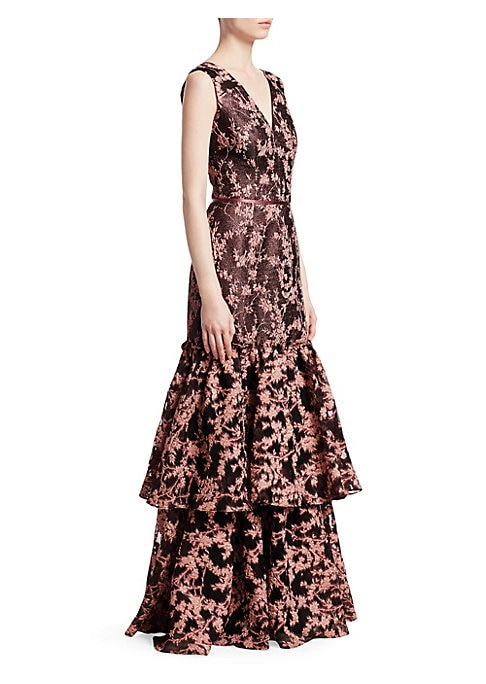 "Image of Glittery floral jacquard dress flows to a tiered, ruffle hem.V-neck. Sleeveless. Concealed back zip closure. Ribbon-trim waist.V-back. Tiered ruffle hem. About 60"" from shoulder to hem. Polyester/metallic. Dry clean. Imported. Model shown is 5'10"" (177cm)"