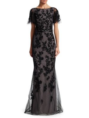 DAVID MEISTER Floral Embroidered Gown W/ Flutter Sleeves in Black