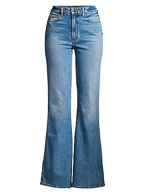 Image of Add glamour to your denim wardrobe with the vintage fit of the Reese jean. The high-rise five-pocket flare silhouette is designed to visually elongate the leg, while a touch of stretch adds flexibility. Belt loops Zip fly with button closure Five-pocket s