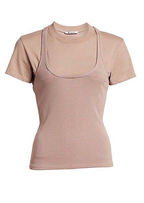 "Image of Crewneck cotton t-shirt layered with a ribbed stretch viscose tank top. Roundneck. Short sleeves. Pull-on style. Tee: cotton. Tank layer: viscose/elastane. Machine wash. Imported. SIZE & FIT. Fitted silhouette. About 24"" from shoulder to hem. Model shown"