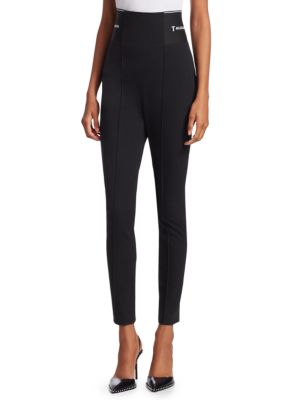 Cotton-Blend Jacquard Skinny Leggings in Black