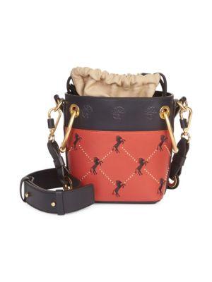 Mini Little Horses Embroidered Leather Bucket Bag, Multi