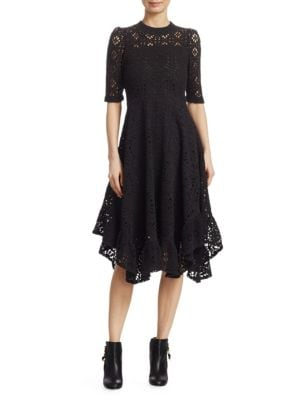 Short-Sleeve Cutout Lace A-Line Dress W/ Ruffled Hem in Black