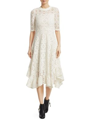 Short-Sleeve Cutout Lace A-Line Dress W/ Ruffled Hem in White