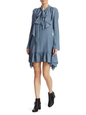 Ruffle Tie-Neck Long-Sleeve Short Dress in Blue