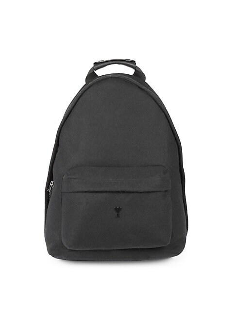 "Image of Accommodate your valuables in style with this rich wool backpack embellished with the brand logo. Top handle. Adjustable shoulder straps. Top zip-around closure. Exterior zip pocket. Wool. Lined. Imported. SIZE. Top handle drop, about 5.1"".12.2"" W x 15.7"""