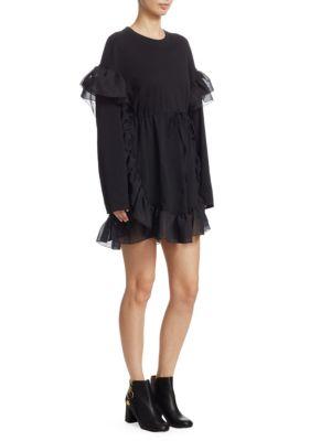 Cinched Long-Sleeve Ruffle Mini Dress in Black