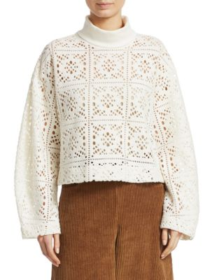 Turtleneck Long-Sleeve Cutout Sweater in White