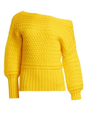 TANYA TAYLOR Marie Cable-Knit Off-Shoulder Sweater in Yellow