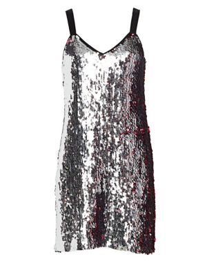 TANYA TAYLOR Becca Two-Tone Sequin Tank Dress in Pink
