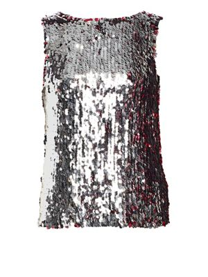 TANYA TAYLOR Gabby Two-Tone Sequin Sleeveless Top in Pink