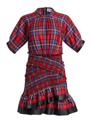 Nicole Plaid Flannel Ruffle Mini Dress in Red Multi
