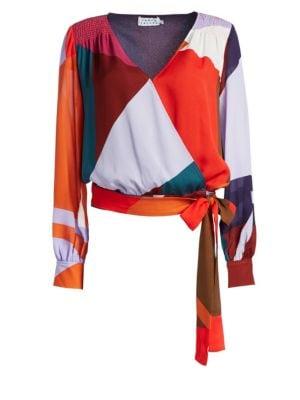 TANYA TAYLOR Klara Colorblock Long-Sleeve Top in Berry Multi