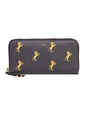 c2837c031cae Chloé - Little Horses Embroidered Leather Zip Pouch - saks.com