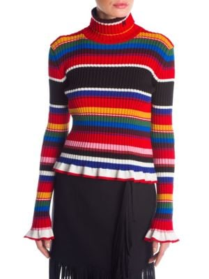Striped Ribbed Wool-Blend Turtleneck Sweater, Multi