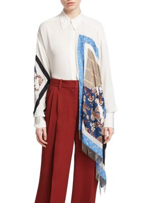 Oversized Satin And Crepe-Trimmed Printed Silk-Twill Shirt in White