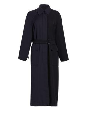 Oversized Wool Trench Coat in Black