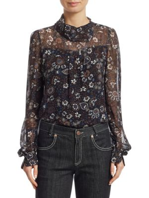 Printed Long-Sleeve High-Neck Blouse in Black