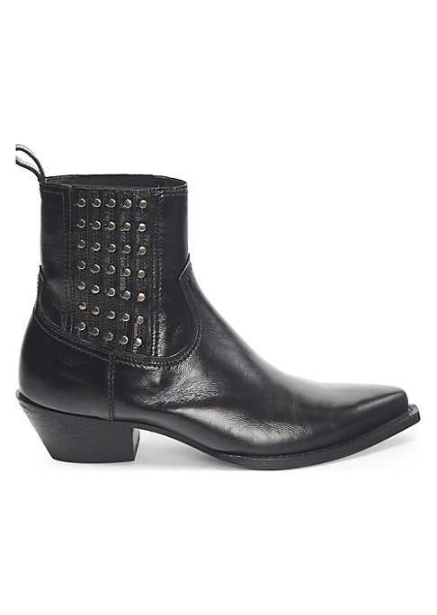 """Image of From the Saks IT LIST. THE COWBOY BOOT. Pair this versatile must-have with flowing skirts, jeans and more. Leather western-inspired booties with studded details. Heel height, 1.5"""".Leather upper. Point toe. Pull-on style. Leather sole. Made in Italy."""