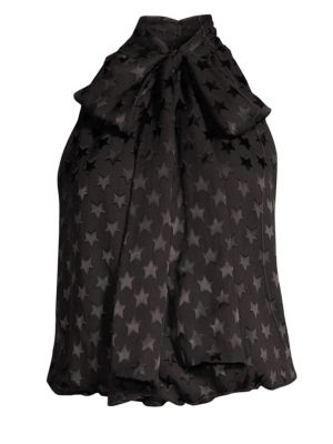Alice + Olivia Delphine Tie-Neck Star Burnout Top, Stars Black