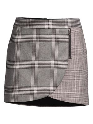 Alice + Olivia Lennon Zip Detail Plaid Mini Skirt in Grey