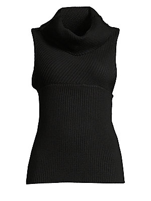 """Image of '90s-inspired knit pullover in two-way rib Funnel neck Sleeveless Pullover style Empire seaming Slim fit About 23 from shoulder to hem Wool Dry clean Imported Model shown is 5'10"""" (177cm) wearing a US size Small. Contemporary Sp - Alice + Olivia. Alice +"""