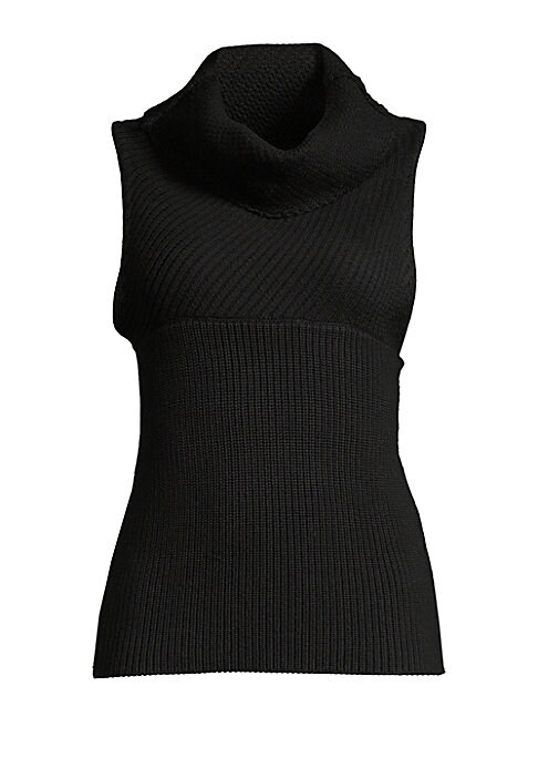 "Image of '90s-inspired knit pullover in two-way rib. Funnel neck. Sleeveless. Pullover style. Empire seaming. Slim fit. About 23"" from shoulder to hem. Wool. Dry clean. Imported. Model shown is 5'10"" (177cm) wearing a US size Small."