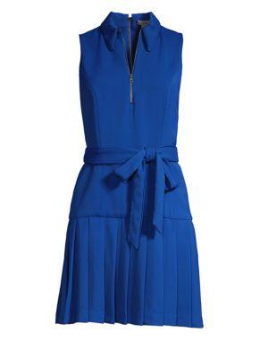 Alice + Olivia Yoko Belted Pleated Dress, Palace Blue