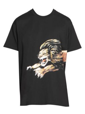 Leo Lion-Print Cotton T-Shirt, Black