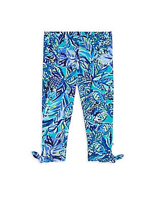 Image of Floral stretch cotton leggings with bow cuffs Elasticized waistband Pull-on style Tied bow cuffs Cotton/spandex Machine wash Imported. Children's Wear - Classic Children. Lilly Pulitzer Kids. Color: Bennet Blue. Size: XL (12-14).