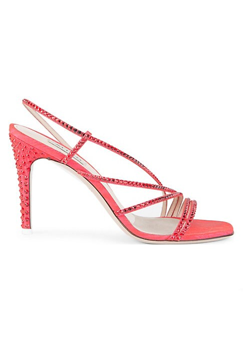 """Image of Chic strappy sandals adorned with crystals. Self-covered heel, 3.5"""" (89mm).Leather/crystal upper. Slip-on style with slingback strap. Open toe. Leather lining and sole. Professionally clean. Made in Italy."""