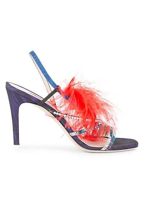 """Image of Dramatic feather and embellished stiletto sandals. Self-covered heel, 3.5"""" (95mm).Snake-skin/feather/textile/leather upper. Slingback strap. Open toe. Leather lining and sole. Made in Italy."""