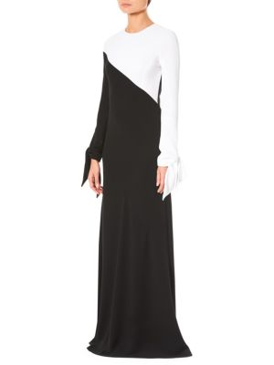 Tie-Cuff Long-Sleeve Contrast Bias A-Line Evening Gown, Black-White