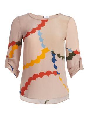 Scallop Print Silk Blouse by Akris Punto
